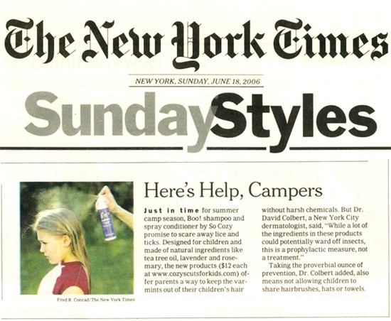 New York Times - Sunday Style features BOO! lice repellant products. Great for camp!